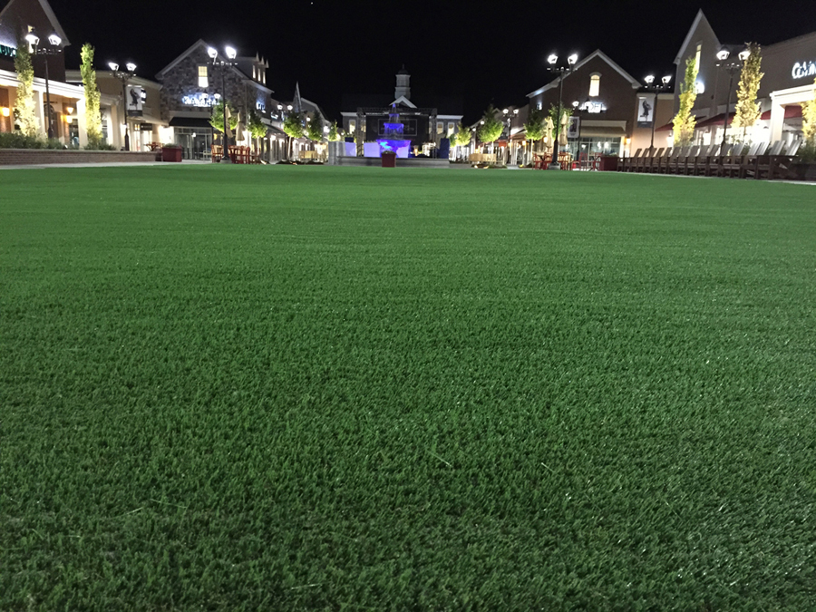 Close-up of courtyard turf at outdoor shopping mall in NJ